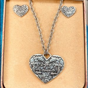 Patricia Nash Necklace & Earrings Silver Tone NWT